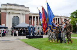 ROTC at OSU carrying flags on campus