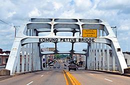 Road to Freedom Edmun Pettus road Bridge with cars driving
