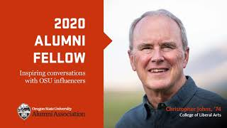"""""""202 Alumni Fellow, Inspiring conversations with OSU influencers"""" text with image of Christopher Johns and OSUAA logo"""