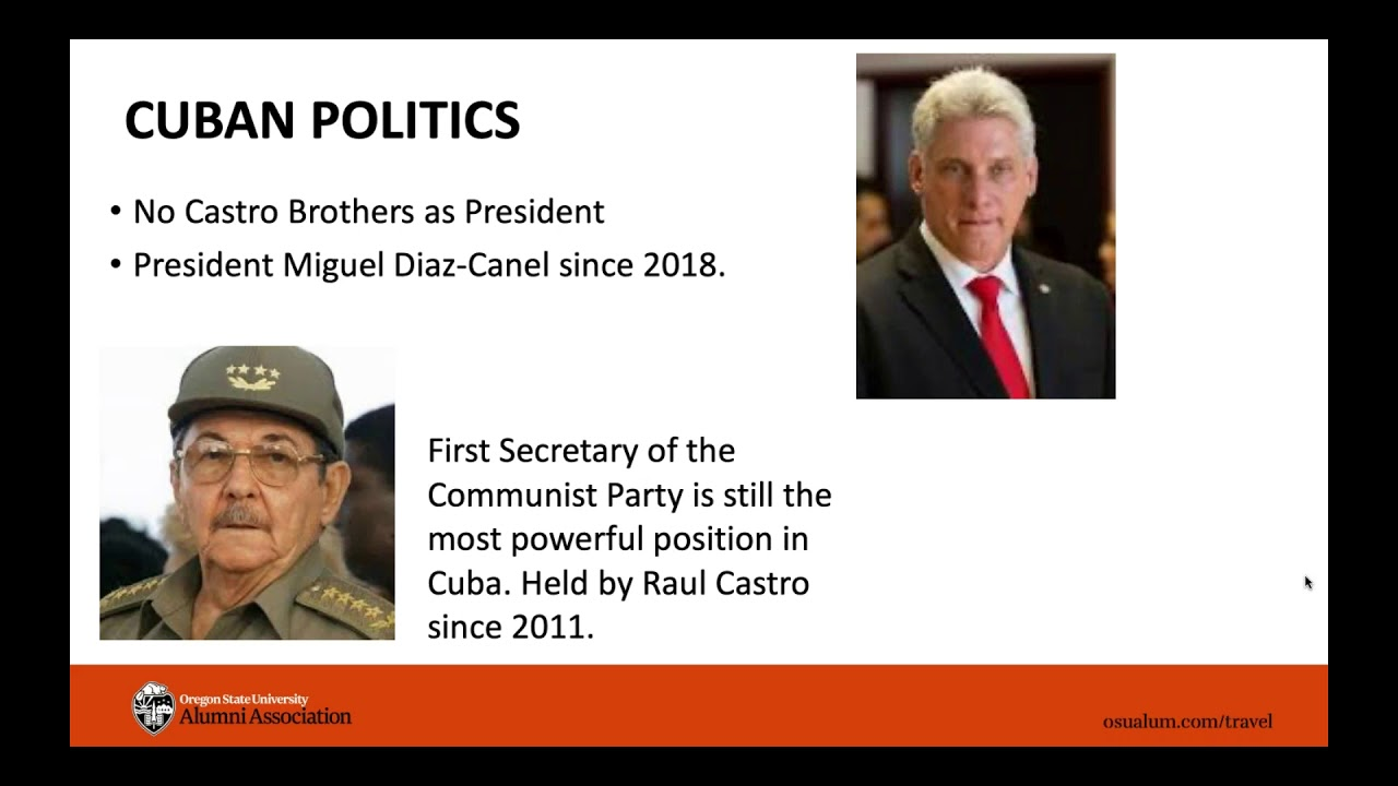 """""""Cuban Politics"""" with image of the Castro Brothers and President Miguel Diaz-Canel, this is a PowerPoint presentation slide"""