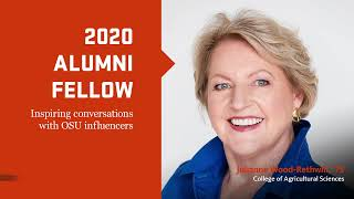 """""""2020 Alumni Fellow, Inspiring conversations with OSU influencers"""" text with image of Julianne Wood and OSUAA logo"""
