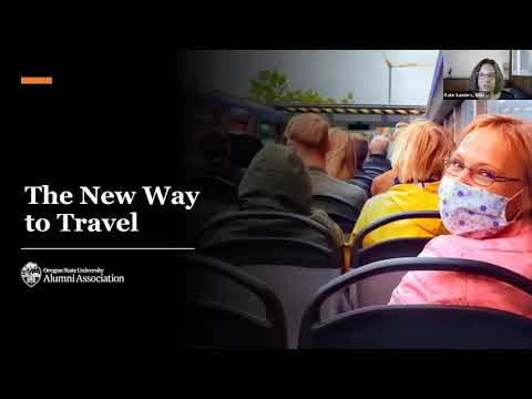 """""""The New Way to Travel"""" text photo with a women wearing a mask smiling sitting down during a presentation"""