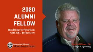 """""""202 Alumni Fellow, Inspiring conversations with OSU influencers"""" text with image of Scott William and OSUAA logo"""