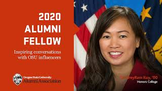 """""""2020 Alumni Fellow, Inspiring conversations with OSU influencers"""" text with image of Sreyram and OSUAA logo"""